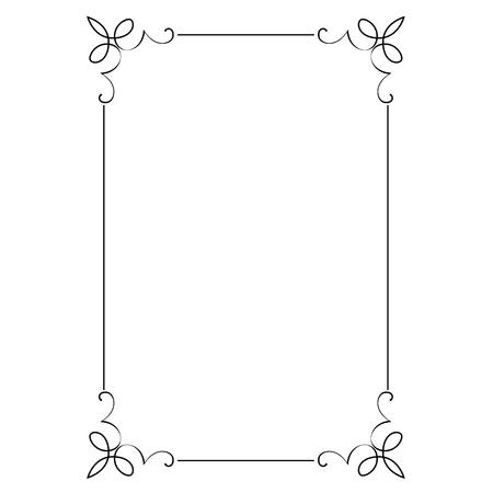 Decorative vertical frame with curls Çizim