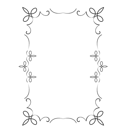 Decorative vertical frame with curls and scroll Çizim
