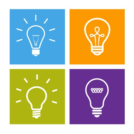 Set of electric light bulb icons - idea sign