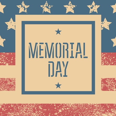 Memorial day retro poster with USA flag