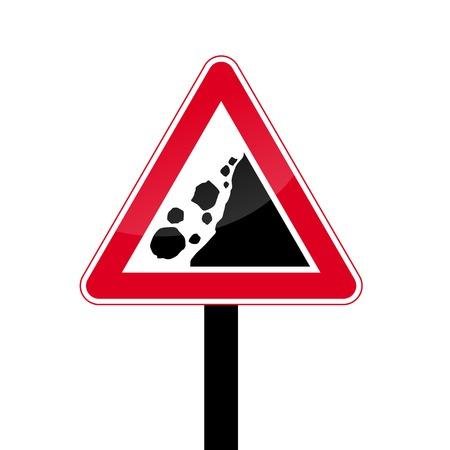Rockfall triangular red traffic sign - rockslide icon Çizim