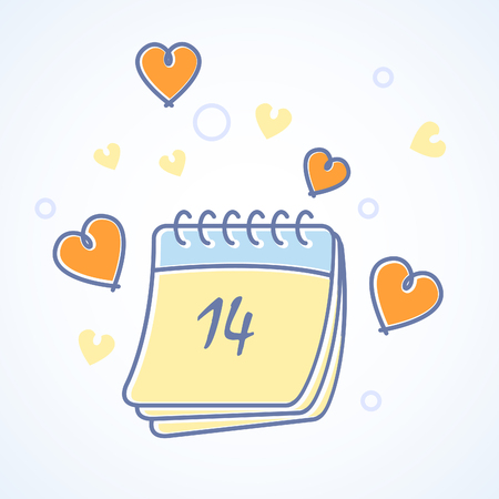 St. Valentines Day calendar icon with hearts Illustration