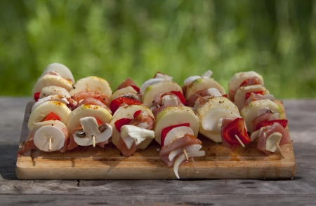 Skewers ready to be grilled Stock Photo - 14248412