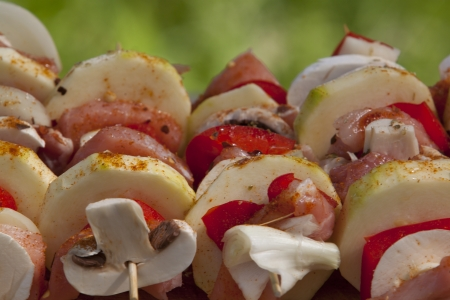 Skewers ready to be grilled