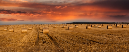 干し草の俵と夕暮れの空 - パノラマ ビュー