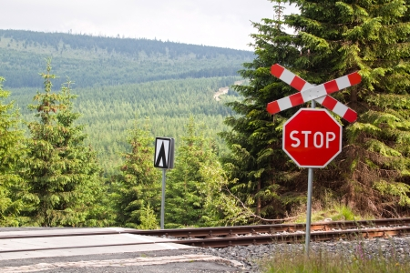 forest railroad: Railroad crossing in the mountains with stop sign  Stock Photo