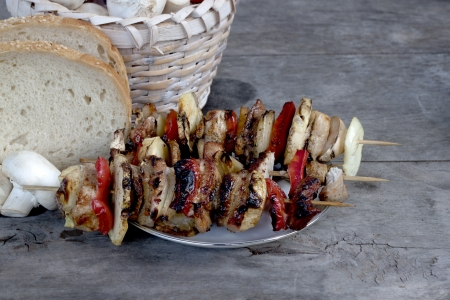 Grilled food, skewers photo