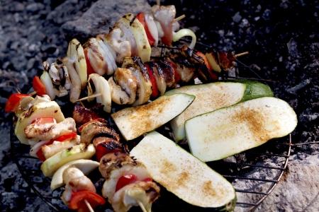 flay: Grilled food, skewers