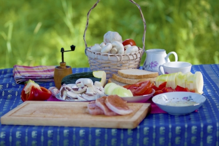 Making food for a picnic  Stock Photo
