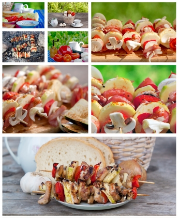 Collage of making skewers Stock Photo - 18122469