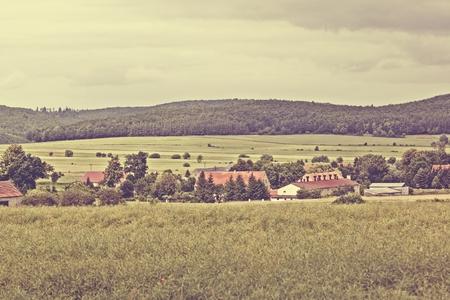 Village landscape vintage style photo