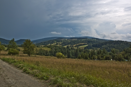 sudetes: Landscape in Polish mountains Sowie - Owl Mountains Stock Photo