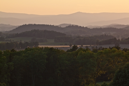 sudeten: Sunset over the Sudeten Mountains in Poland