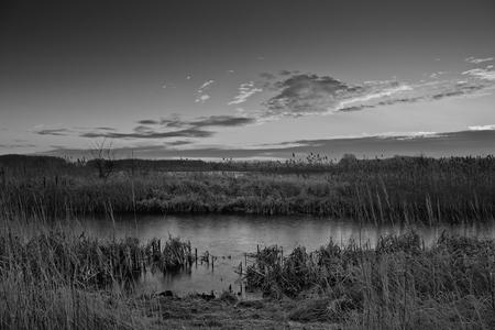 Lake at frosty morning