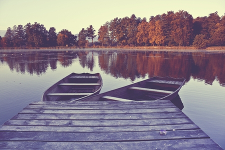 Abandoned boats in lake
