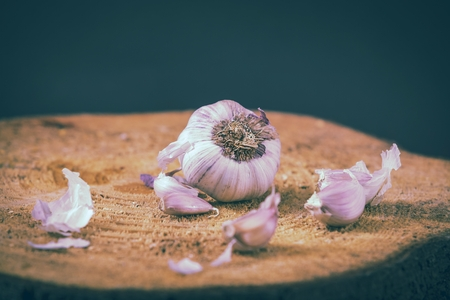 garlic on wooden background Stock Photo