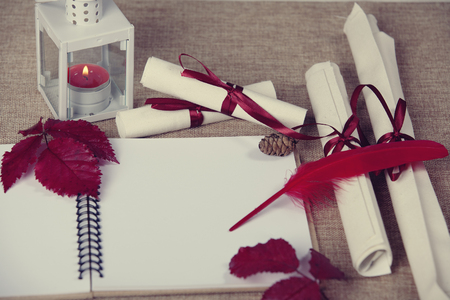 Blank paper notebook and pencil - writing letter to santa Stock Photo