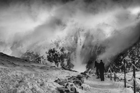 Winter in Karkonosze - Fog, frost nad snow Stock Photo