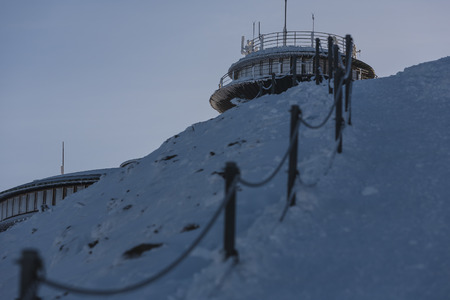 SNIEZKA MOUNTAIN, POLAND -22.02.2017: Mountain shelter and meteorological observatory at the top of Sniez