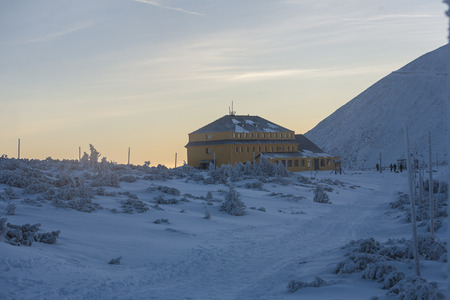 Karkonosze POLAND -22.02.2017: Shelter Dom Slaski in Karkonosze, Poland 報道画像