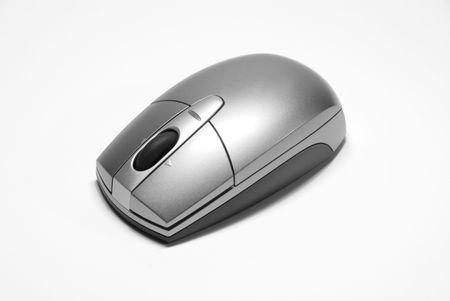 scrollwheel: A Brilliant Modern Computer Mouse On A White Background.