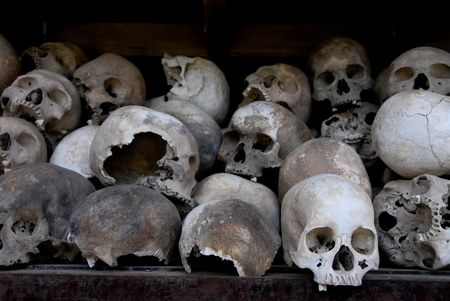 genocide: Skulls from the Pol pot and Khmer Rouge led Genocide in Cambodia thattragically  took the lives of millions...