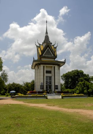 genocide: The Killing Fields Memorial Buddhist Stupa that holds over 8,000 human skulls from the genocide. Stock Photo
