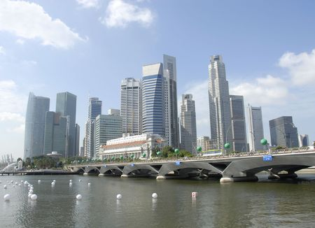 The Centre of Singapores business district on the bay. Stok Fotoğraf