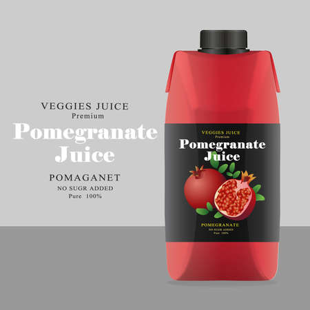 Package and Label Pomegranate Juice Vector