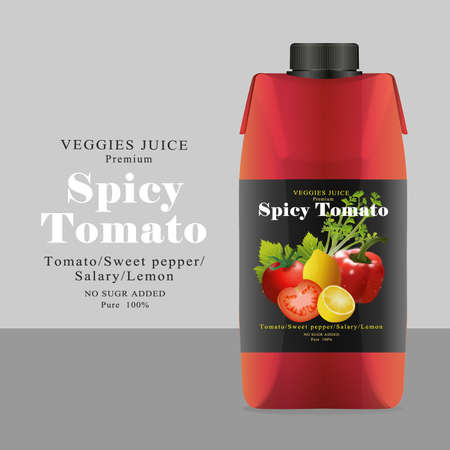 Package and Label tomato Juice Vector