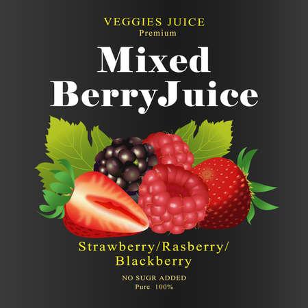 rasberry: Fruit Label mixed berry Juice Illustration