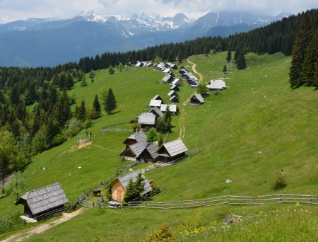 mountin: Village of wooden cottages Zajamniki on a plateau Pokljuka in Slovenian Alps, with the highest mountin of Slovenia Triglav in clouds in the background