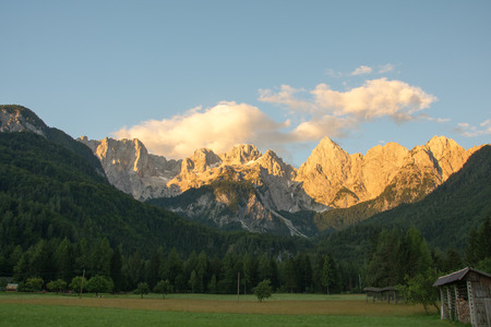 julian: Julian Alps with magnificent Spik in its morning glory Stock Photo