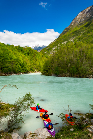 Group of kayakers decided that the river Soca is too wild for them to continue the decent