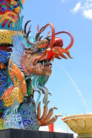 descendants: Fountain Dragon in Museum of the Descendants of the Dragon, Thailand Museums and Art Centres, Suphanburi, Thailand  Stock Photo