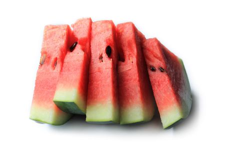 melons: Watermelon slice on white background