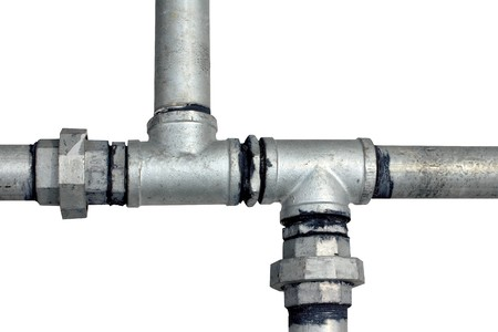 Metal water pipes on a white Stock Photo