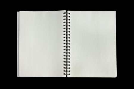 note book on the black background Stock Photo