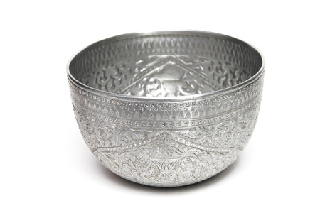 antique vase: silver bowl Stock Photo