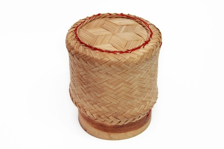 asian sticky rice in a bamboo wooden old style box