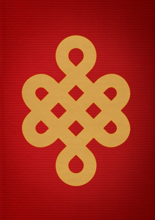 Mistic Knot on Red Paper Stock Photo - 17375808