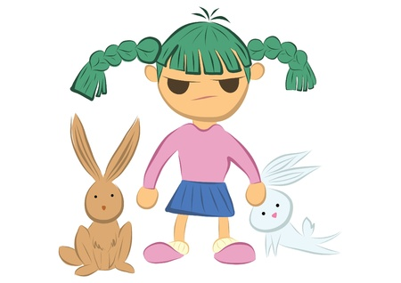 Girl with Rabbits Vector