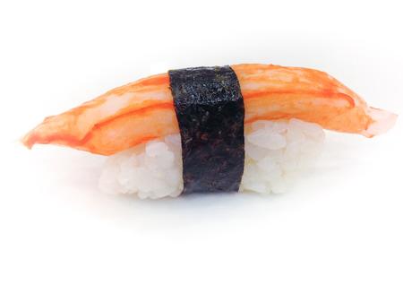 Crab stick sushi on white background photo