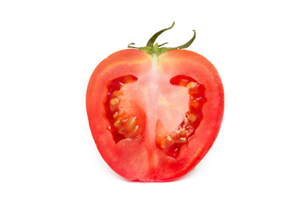 red tomato vegetable with cut isolated on white background Stock Photo