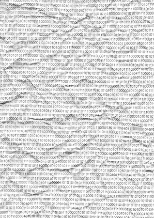 cryptogram: Binary code on a piece of crumpled white paper