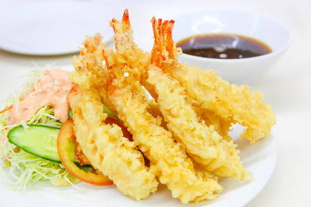 Japanese Cuisine - Tempura Shrimps (Deep Fried Shrimps) Stock Photo