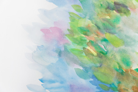 Abstract colorful water color art background hand paint on white background photo