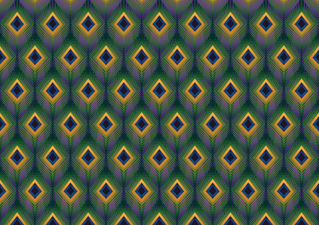 Peacock feathers modern pattern vector background Illustration