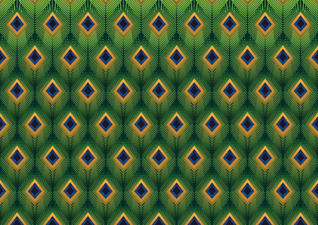 peafowl: Peacock feathers modern pattern vector background Illustration