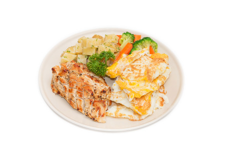 nonfat: Diet food, Clean eating, Chicken steak and omelet with vegetable